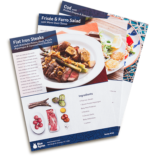 Blue apron fresh ingredients original recipes delivered to you introducing our market recipe cards forumfinder Images
