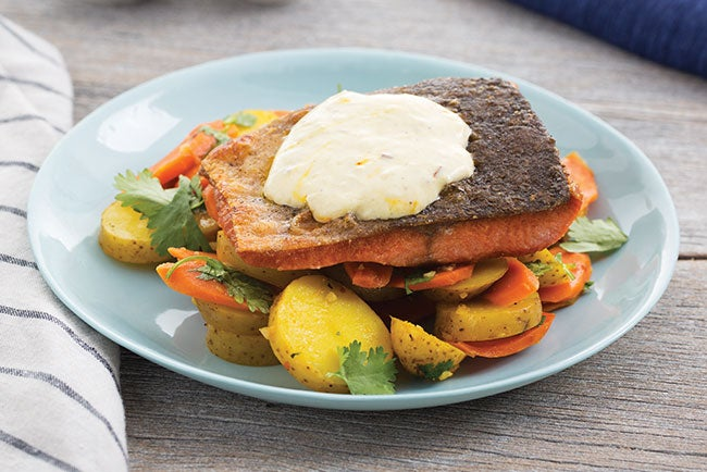 Seared Salmon with Honey-Glazed Carrots & Saffron Potatoes