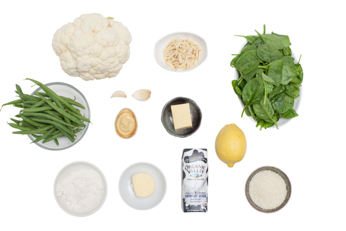 Cauliflower Steaks with Spinach Gratin  & Green Beans ingredients