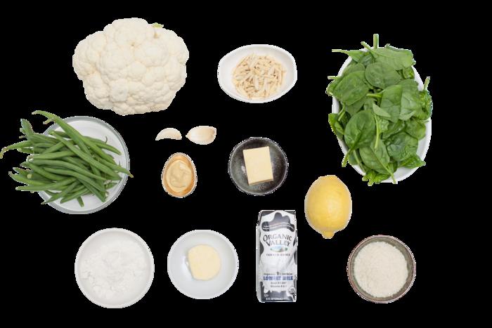 Cauliflower Steaks with Spinach Gratin  & Green Beans