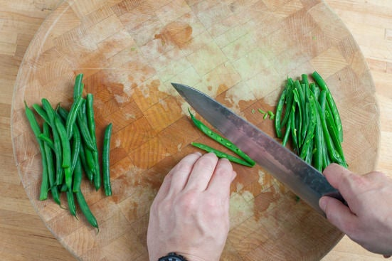 Cook the green beans & toast the almonds: