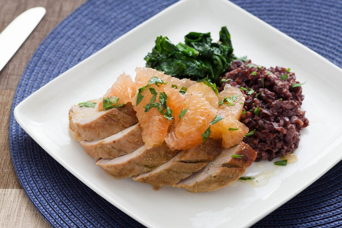 Fennel-Rubbed Pork Tenderloin with Grapefruit, Mustard Greens & Japonica Black Rice