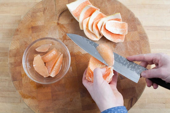 Cook the rice & prepare the grapefruit: