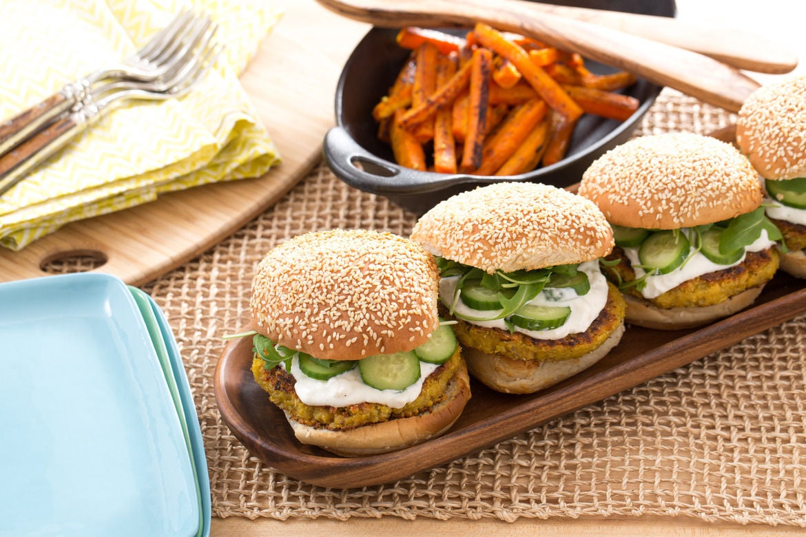 Chickpea Burgers  with Vadouvan-Roasted Carrots & Feta-Yogurt Sauce