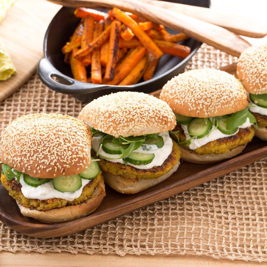Chickpea Burgers with Vadouvan-Roasted Carrots & Feta-Yogurt Sauce