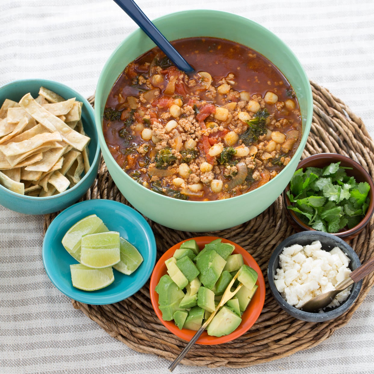 Pork & Hominy Pozole with Avocado & Crispy Tortilla Strips