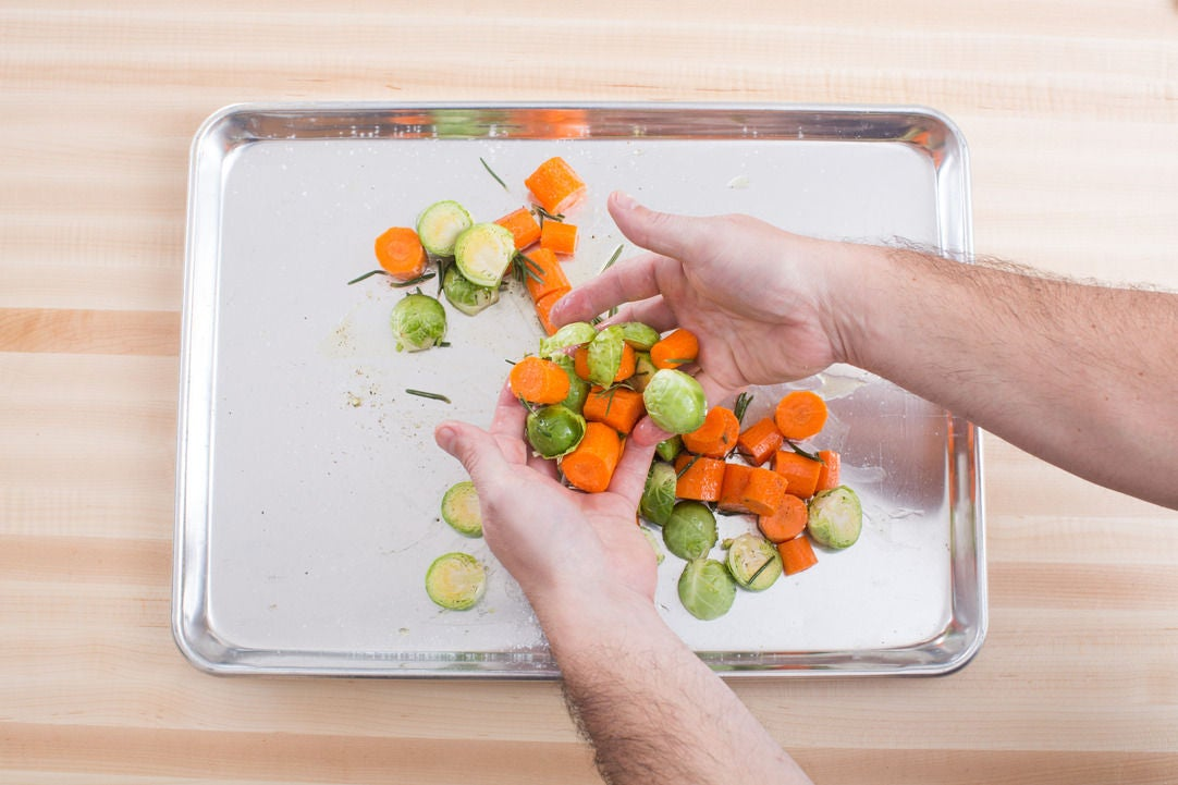 Brown the Brussels sprouts & carrots: