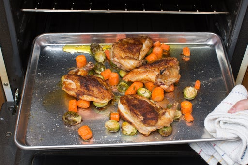 Finish the chicken, Brussels sprouts & carrots: