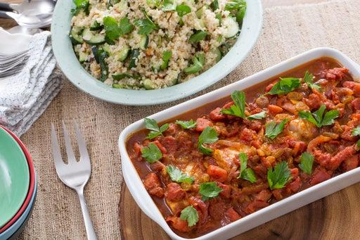 Tomato-Baked Cod with Bulgur, Lemon & Almond Tabbouleh