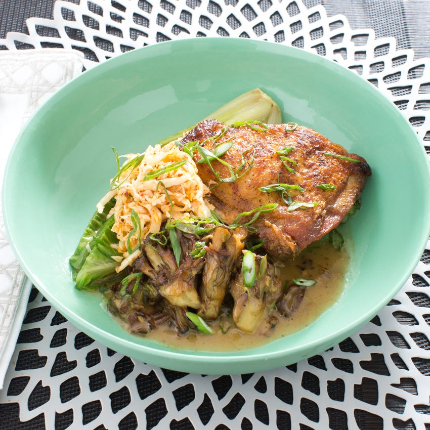 Crispy Chicken Thighs with Braised Lettuce, Kimchi & Maitake Mushrooms