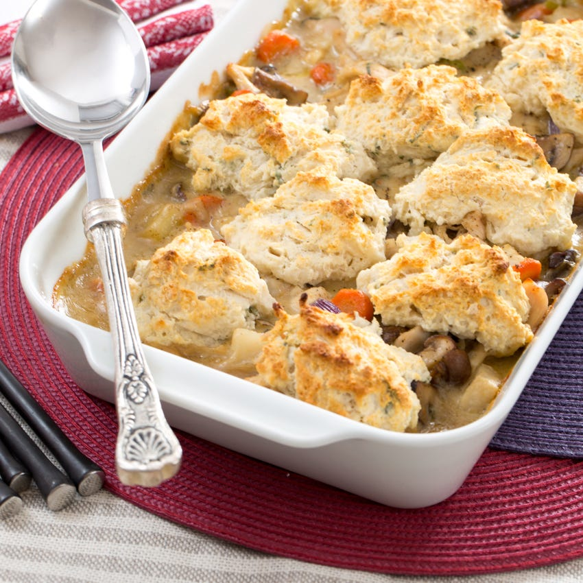 Chicken & Drop Biscuit Casserole with Cremini Mushrooms & Red Pearl Onions