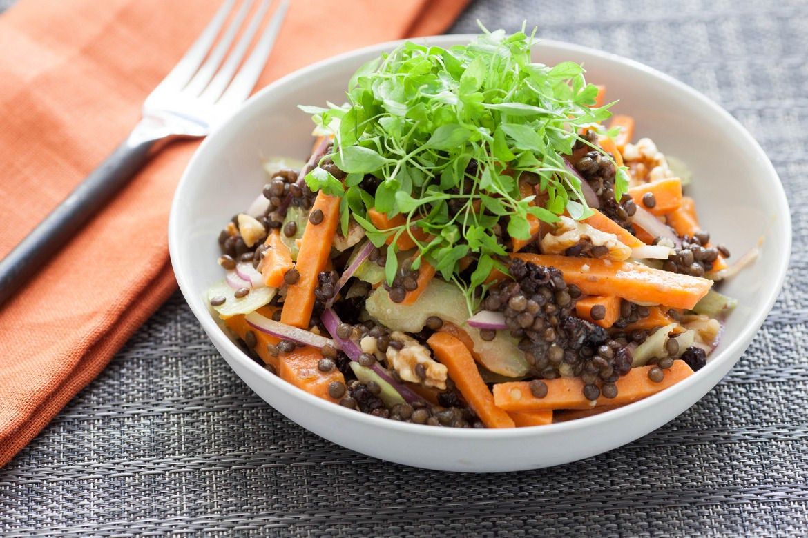 Warm Winter Sweet Potato Salad with Beluga Lentils & Cider Vinaigrette
