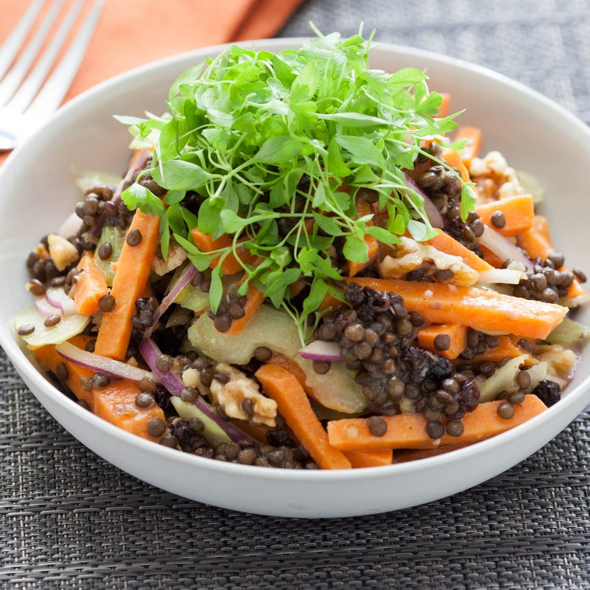 Recipe Warm Winter Sweet Potato Salad With Beluga Lentils Cider Vinaigrette Blue Apron