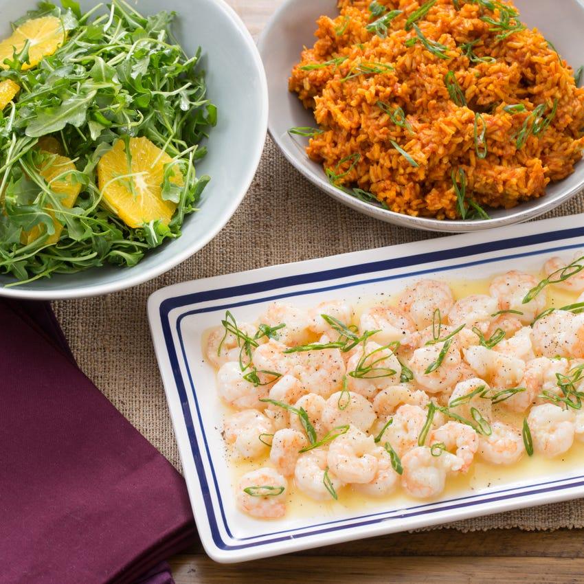 Lemon-Butter Shrimp with Tomato Rice & Arugula-Orange Salad