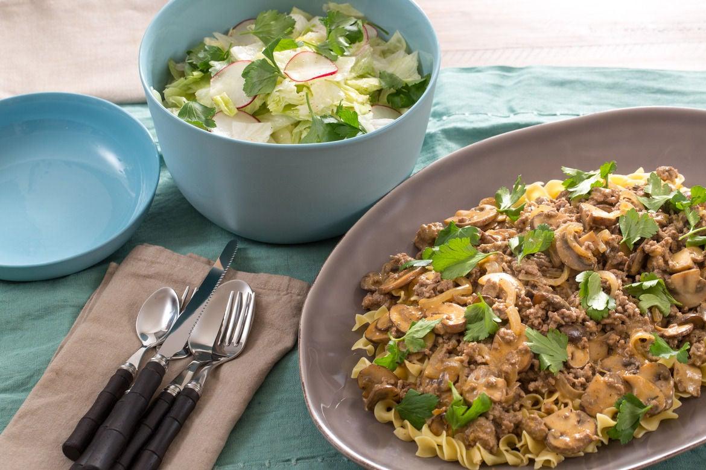 Mushroom & Beef Stroganoff with Iceberg Lettuce & Radish Salad