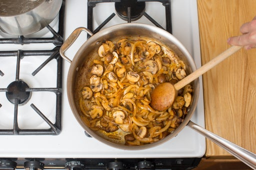Cook the mushrooms & onion: