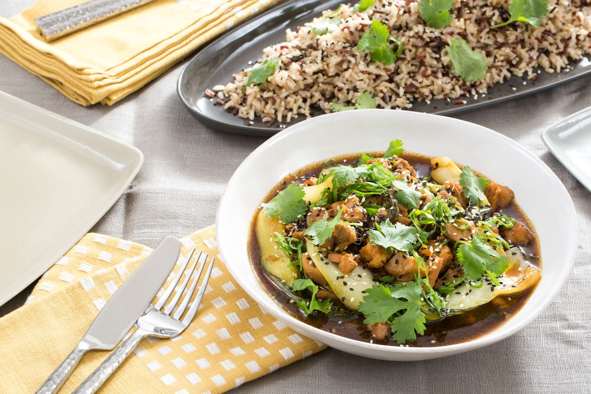 Adobo-Style Chicken with Bok Choy & Wild Rice