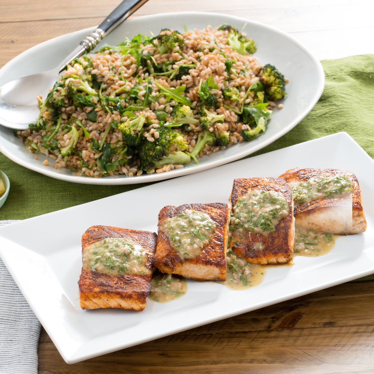 Seared Salmon with Roasted Broccoli & Farro Salad