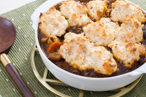 Mushroom & Vegetable Pot Pie with Cheddar Cheese Biscuits