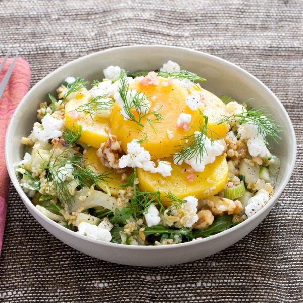 Warm Golden Beet & Freekeh Salad with Walnuts, Apple & Goat Cheese