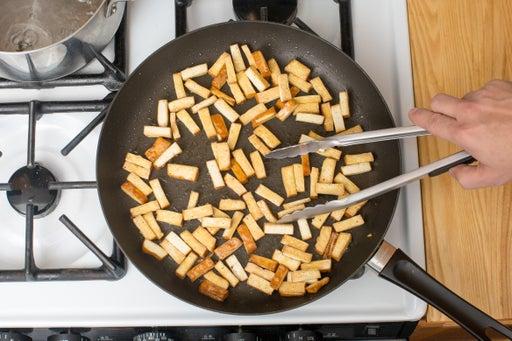 Brown the tofu: