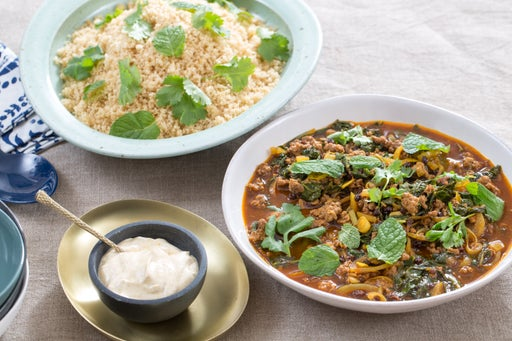 Lamb & Beef Tagine with Swiss Chard, Date Molasses & Whole Wheat Couscous