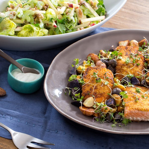 Panko-Crusted Mustard Salmon with Roasted Potatoes & Waldorf-Style Salad