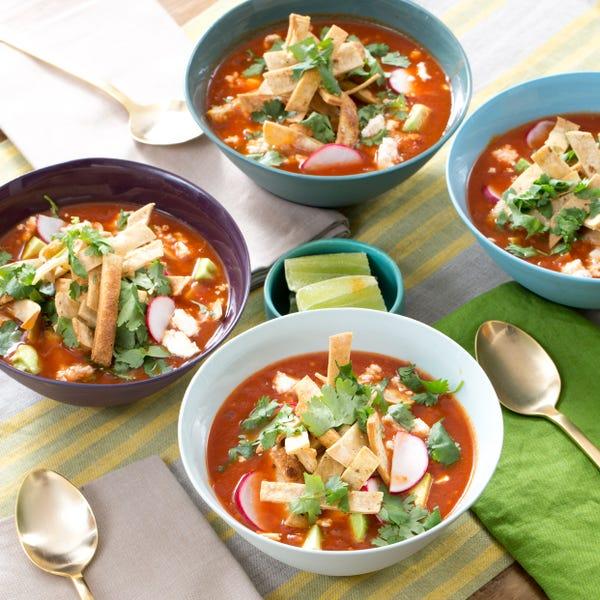 Vegetable Tortilla Soup with Hominy, Avocado & Queso Fresco