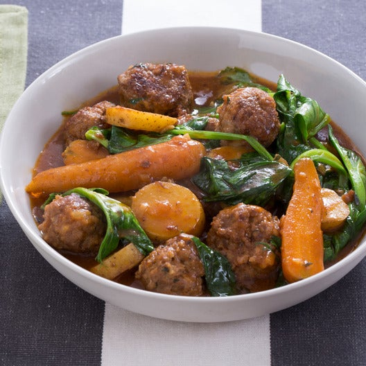 Recipe navarin style lamb meatball stew with pea tips for Navarin recipe