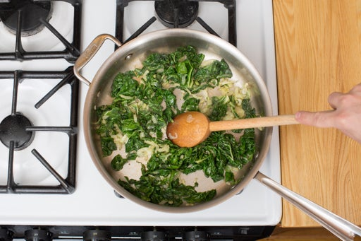 Cook the chard & finish the barley: