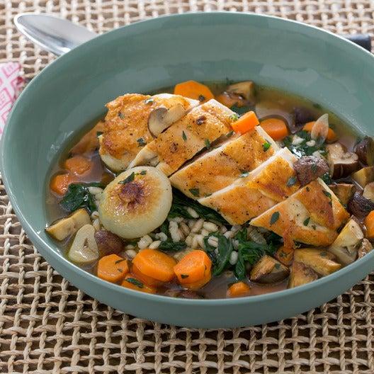Pan-Seared Chicken Verjus with Pearled Barley & Mushrooms à la Grecque
