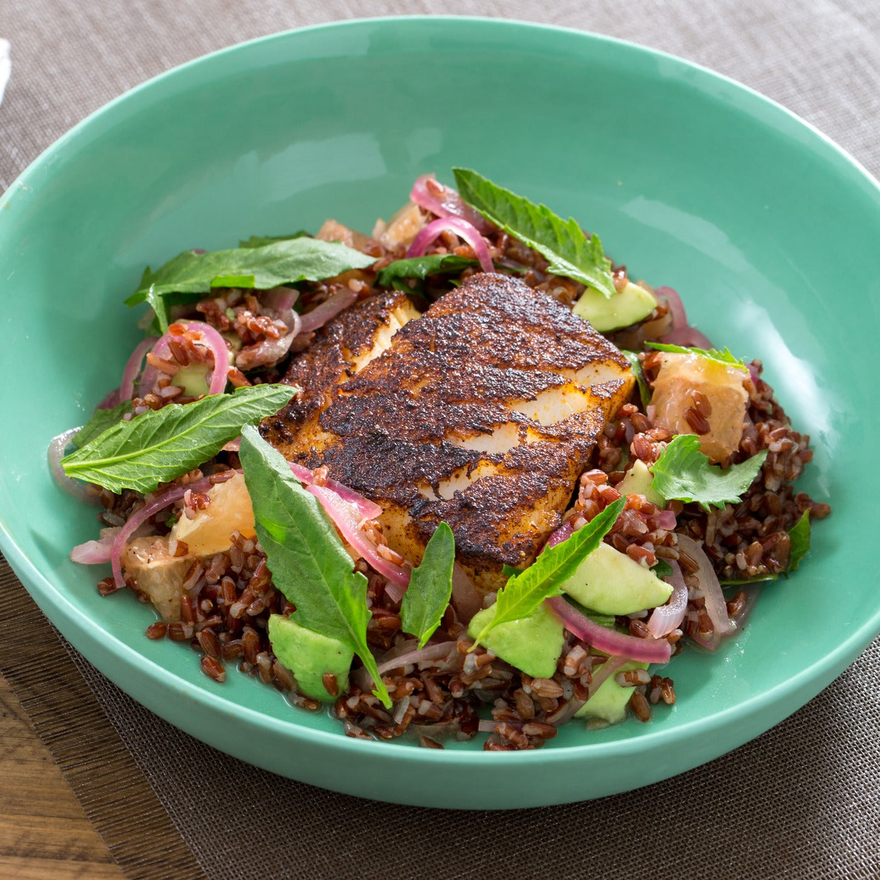 Chile-Blackened Cod with Epazote, Avocado & Red Rice Salad