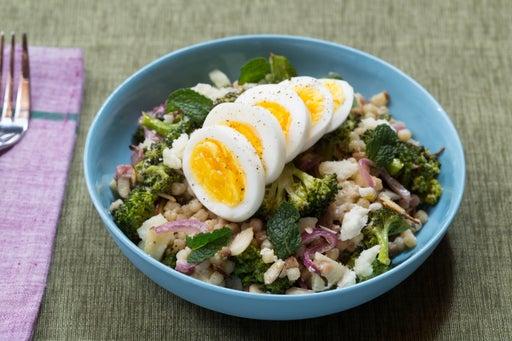 Roasted Broccoli & Fregola Sarda Salad with Hard-Boiled Eggs & Tahini Dressing