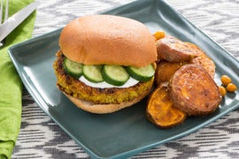 Spiced Chickpea Burgers with Vadouvan Sweet Potatoes & Lemon Yogurt Sauce