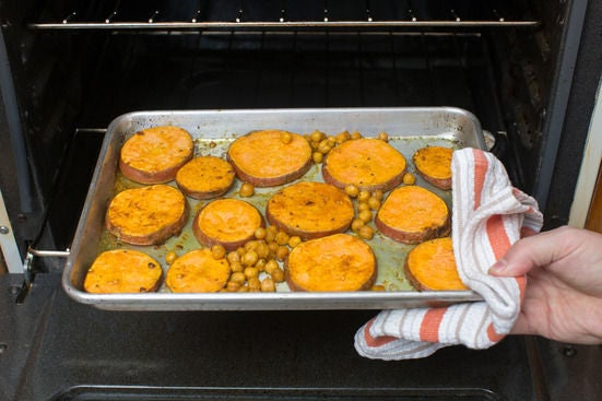 Roast the sweet potatoes & chickpeas: