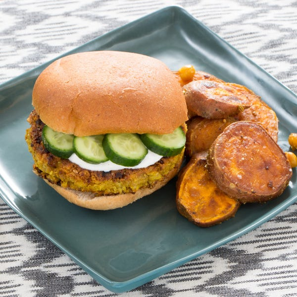 Spiced Chickpea Burgers with Vadouvan Sweet Potatoes & Lemon Yogurt Sauce