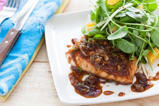 Maple & Ginger Glazed Salmon with Watercress, Orange and Parsnip Salad