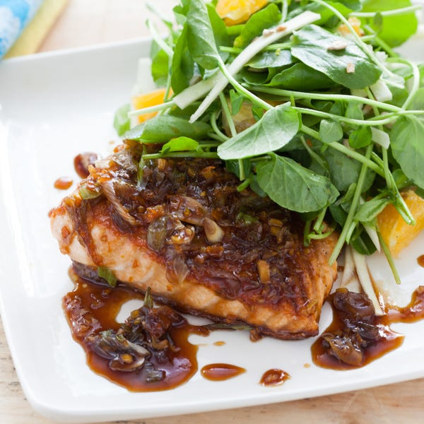 Maple & Ginger Glazed Salmon with Watercress, Orange and Parsnip Salad