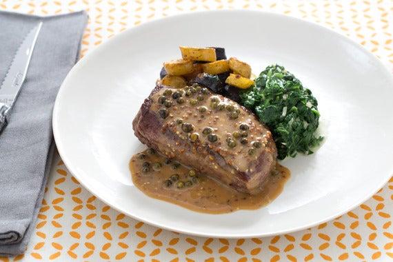 Recipe: Pan-Seared Steaks with Green Peppercorn Sauce ...