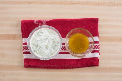 Make the yogurt sauce & dressing: