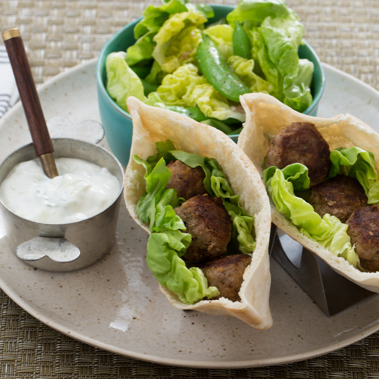 Spiced Turkey Meatball Pitas with Sugar Snap Pea & Bibb Lettuce Salad