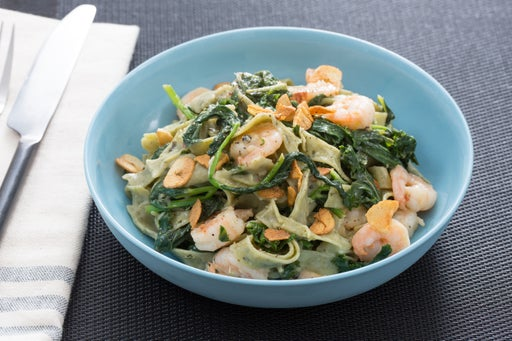 Lemon & Black Pepper Shrimp with Fresh Linguine di Cavolo & Fava Leaves
