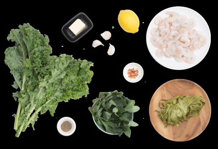 Lemon & Black Pepper Shrimp with Fresh Linguine di Cavolo & Fava Leaves ingredients