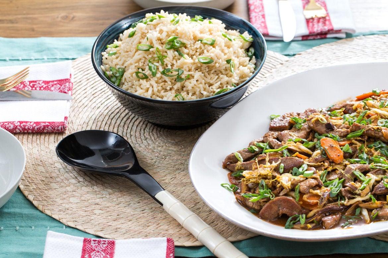 Cantonese-Style Beef & Vegetable Stir-Fry with Shiitake Mushrooms & Brown Rice