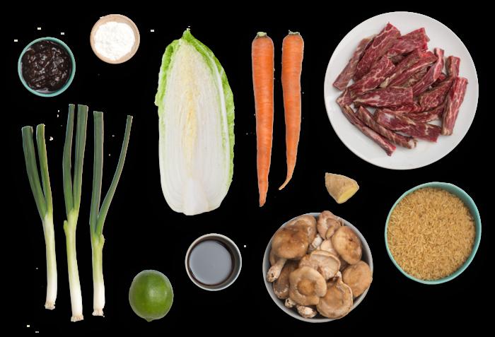 Cantonese-Style Beef & Vegetable Stir-Fry with Shiitake Mushrooms & Brown Rice ingredients