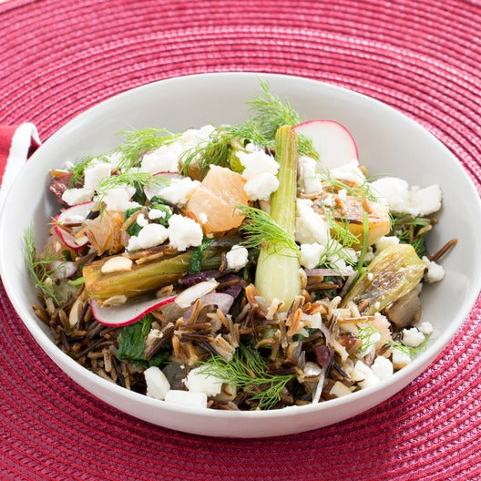 Baby Fennel, Grapefruit & Almond Salad with Olives, Radishes & Wild Rice