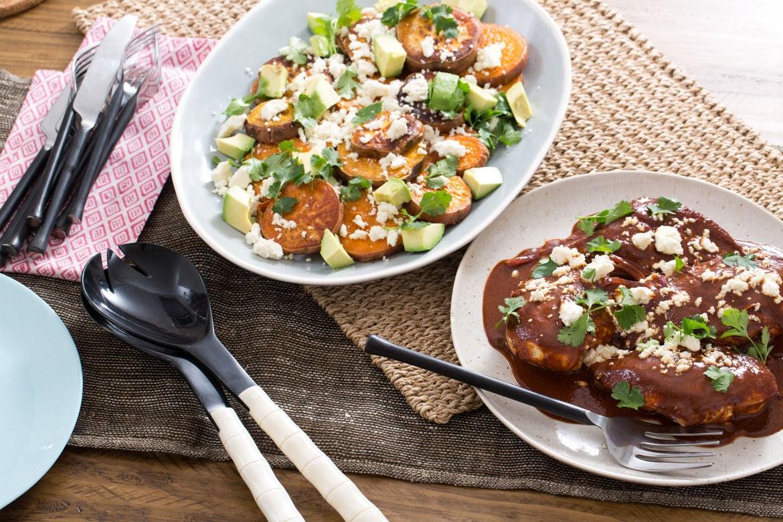 Chicken Mole with Sweet Potatoes, Avocado & Queso Fresco