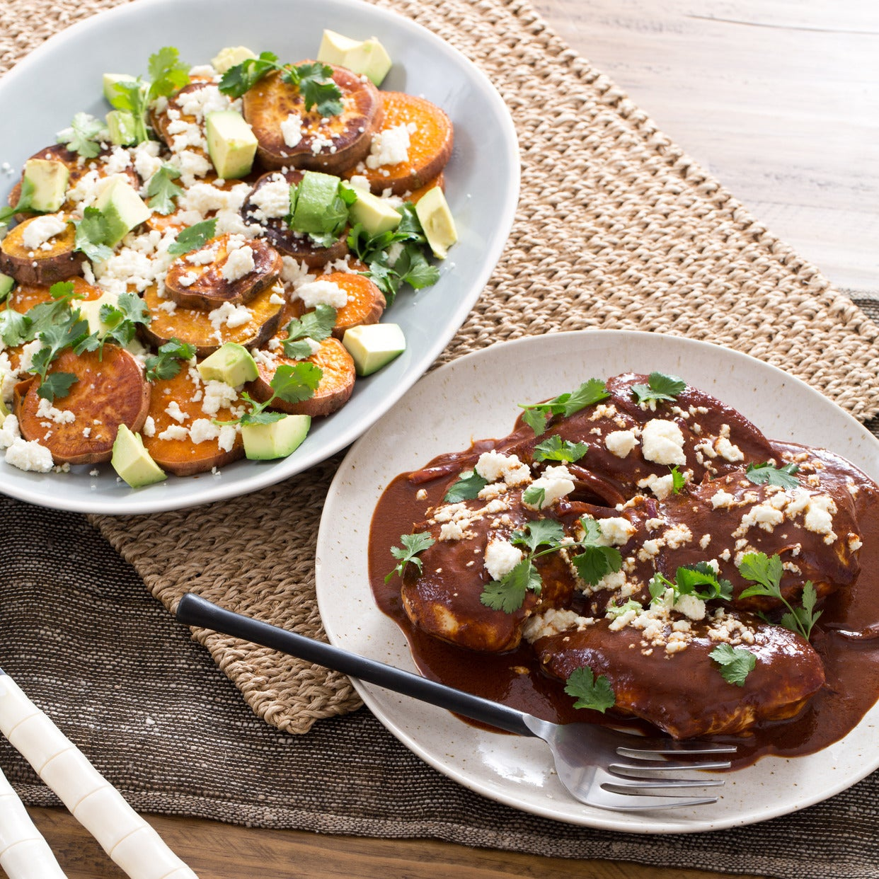 Chicken Mole with Sweet Potatoes, Avocado & Queso Fresco