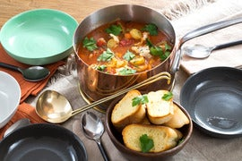 Manhattan-Style Fish Chowder with Garlic Bread