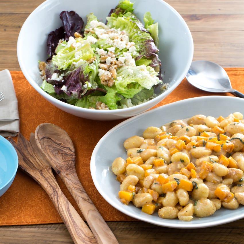 Brown Butter & Butternut Squash Gnocchi with Red Leaf Lettuce, Ricotta Salata & Walnut Salad